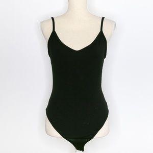 Black Basic Tank Top Low Back Bodysuit